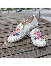 &HZOU Tradicional chino estilo étnico/nuevo/cuero/mujer/pies/blando piso/plataforma/ropa/moda/comodidad/el cuatro estaciones , white , 35