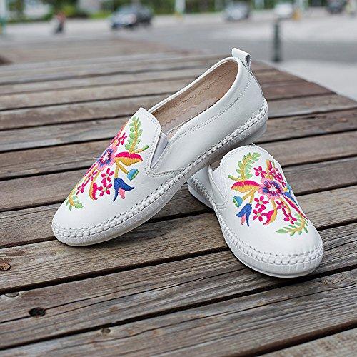 &ZHOU Traditionnelles chinoises style/ethnique/nouveau/cuir/femelle/pieds/soft étage/plate-forme/usure/fashion/confort/les quatre saisons White