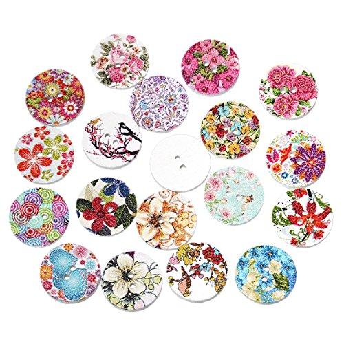 Souarts mezclados al azar diseño de flores redondo 2agujeros de madera botón 20mm paquete de 100unidades
