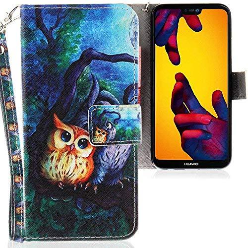 CLM-Tech Huawei P20 Lite Hülle, Tasche aus Kunstleder, 2 Eulen Baum Nacht Mehrfarbig, PU Leder-Tasche für Huawei P20 Lite Lederhülle