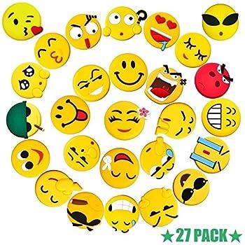 Fridge Magnets Set 27 Pack, Pococina 3D Emoji Carton Refrigerator Magnets Sticker for Home, Kitchen and Office Decoration (Yellow)