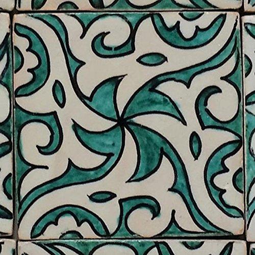 Orientalische Keramikfliese Hiyam grün 10 x 10 cm handbemalte marokkanische Fliese Kunsthandwerk aus Marrakesch Wandfliese für schöne Küche Dusche Badezimmer