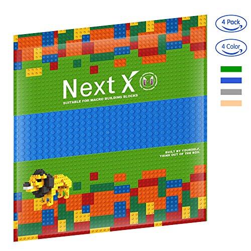 Preisvergleich Produktbild NextX 4 Stück Grundplatten Große Bauplatte Kompatibel mit Lego Gebäude Spielzeug,25cm* 25cm Verdickung Bausteine Platten set 32 * 32Punkte (Grün+Blau+Grau+Khaki)