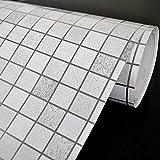 yazi Selbstklebende Tapete Mosaik-Design Küche Schrank Fenster PVC Silber 0.45x5m