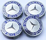 VR Mercedes Benz NABENKAPPEN FELGENDECKEL Chrom und Blau A C E S CLASS SL SLK ML GL CL CLK