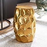 Wohnling Beistelltisch JADA 30x47x30cm Aluminium Gold Dekotisch orientalisch rund, Kleiner Hammerschlag Abstelltisch, Designer Ablagetisch Metall modern, Anstelltisch schmal, 35x35x51 cm