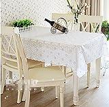 BLUELSS Qualität PVC-Tischdecke Esstisch Kunststoffabdeckung Kaffee Ende Tischdecke Rund Quadratisch Rechteckig wasserdicht Mat weiß blau, 80 x 137