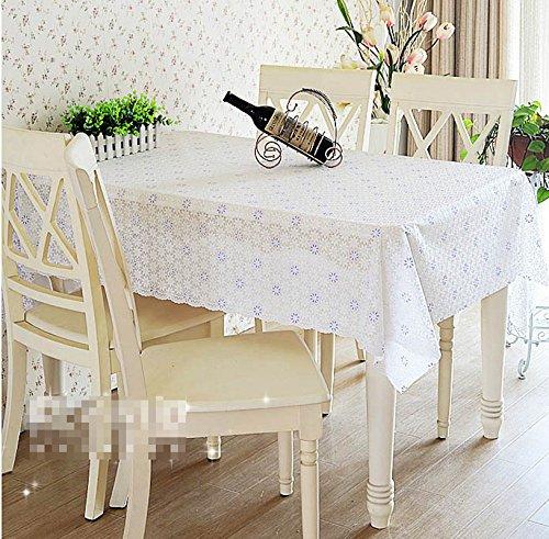 BLUELSS Qualität PVC-Tischdecke Esstisch Kunststoffabdeckung Kaffee Ende Tischdecke Rund Quadratisch Rechteckig wasserdicht Mat Weiß Blau, kundenspezifische