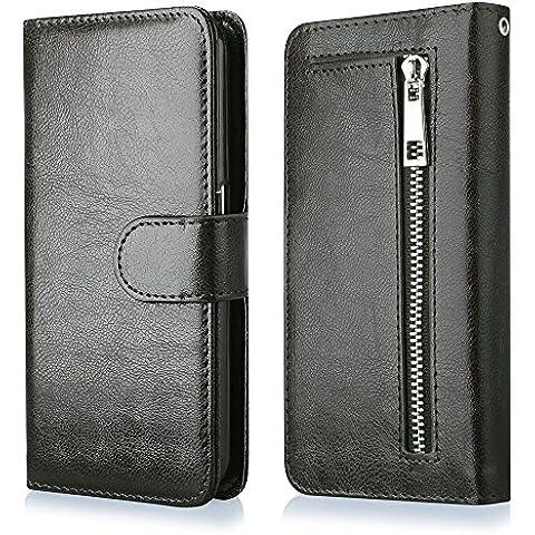 QULT CASE® 2in1 Exclusiva Funda Wallet Buisness de Eco-Piel para iPhone 5 5s negro Estuche con Cierre Magnético Tipo FlipCase Cartera con Ranuras para Tarjetas de Crédito y