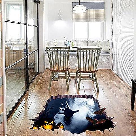 OverDose Halloween Stickers Home Decoration Art Wall Mural 3D Floor Sticker