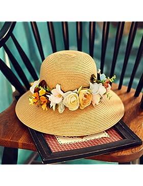 LVLIDAN Sombrero para el sol del verano Dama SolAnti-sol Fishermanstrawhat caqui