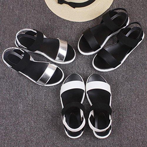 Transer® Damen Sandalen Silber Schwarz Weiß Künstliches PU+EVA Wohnungen Sandalen (Bitte achten Sie auf die Größentabelle. Bitte eine Nummer größer bestellen) Schwarz