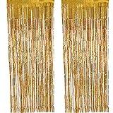 Outus 2 Packung Folie Vorhang Metallic Folie Fransen Vorhänge Tür Fenster Vorhänge für Party Dekorationen (Gold)
