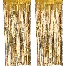 2 Pack Fólia függöny Fémes fóliák Függönyök Függönyök Ajtó ablak függöny párt dekorációkhoz