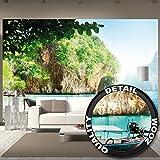 Papel pintado fotográfico de una playa con una barca – barca en una cala en un papel pintado del paraíso – isla en Asia decoración mural XXL by GREAT ART (336 x 238 cm)