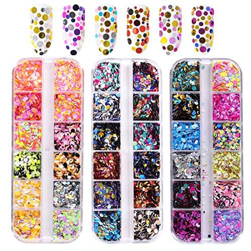 36 Colori Glitter Unghie,glitter per unghie nail art tondo Design,Punte del manicure delle decorazioni DIY Decalcomanie decorazione per viso corpo occhi.