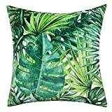 JWH Tropical Rainforest Cushion Cover Leaves Decorative Accent Pillow Cases Summer Green Home Car Sofa Bed Living Room Outdoor Decor Pillowslips Soft Velvet Shells 17 x 17 Inch