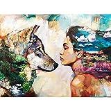 Dosomethinginteresting 5D DIY Diamond Painting kit di ricamo/Full resina strass incollato pittura/mosaico–a punto croce con diamante rotondo–Wolf and Girl, 30 x 40 cm