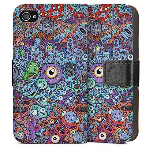 Apple iPhone 4 Housse Étui Silicone Coque Protection Bande dessinée couleurs Chaos Sideflip Sac