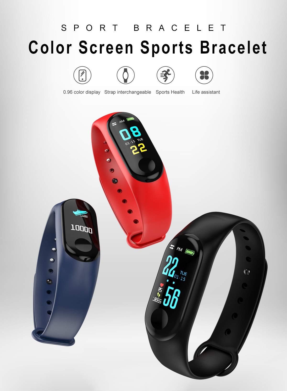 WANGLAI 1 PC Rastreador de Ejercicios, Pulsera Inteligente con Monitor de Ritmo cardíaco, Brazalete Inteligente con podómetro de Seguimiento de Actividad de sueño de Salud para teléfono Inteligente 7