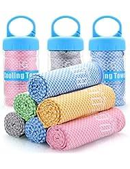 BoGi Kühlendes Handtuch, für sofortige Cool-100 cm) X (30 cm)-Einsatz als Schal Haarband Armband Bandana-weicher Cool Bambus Faser-Stay Cool für Yoga Reise Climb Golf Fußball Tennis & Outdoor Sports