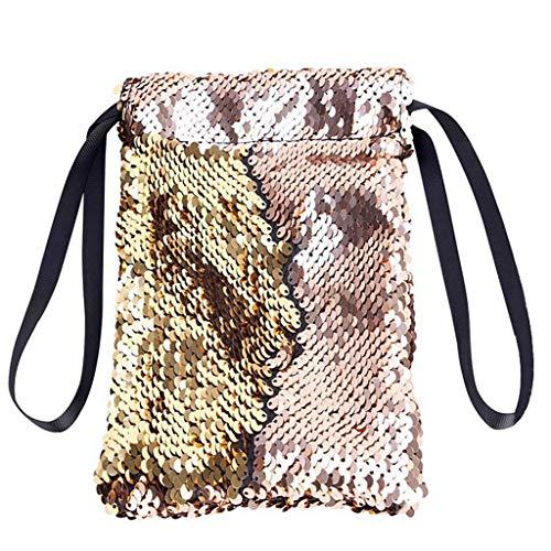 Ledertasche, Schultertasche, Geschenk, Handgefertigte Tasche,Unisex Tasche Pailletten Färbung Handytasche Prinzessin Bling Brieftasche Kartenhalter ()