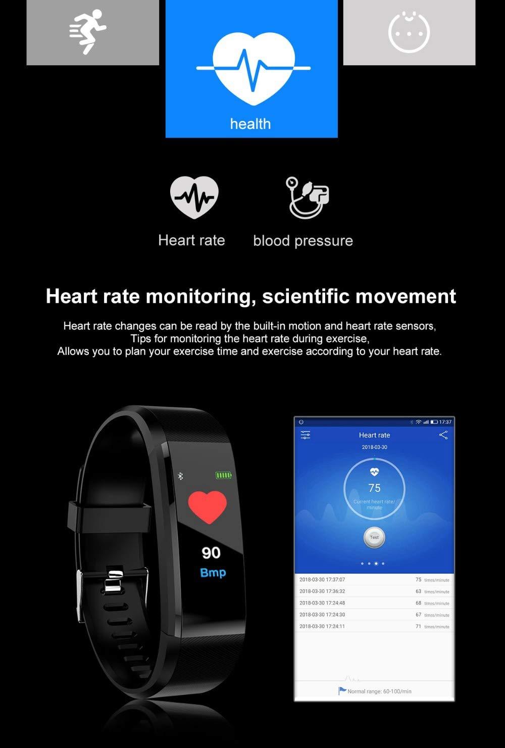 Fitness Tracker, reloj de pulsera de actividad con monitor de presión arterial IP67 resistente al agua con podómetro, contador de calorías y contador de pasos, regalo de cumpleaños para niños, mujeres, hombres 2