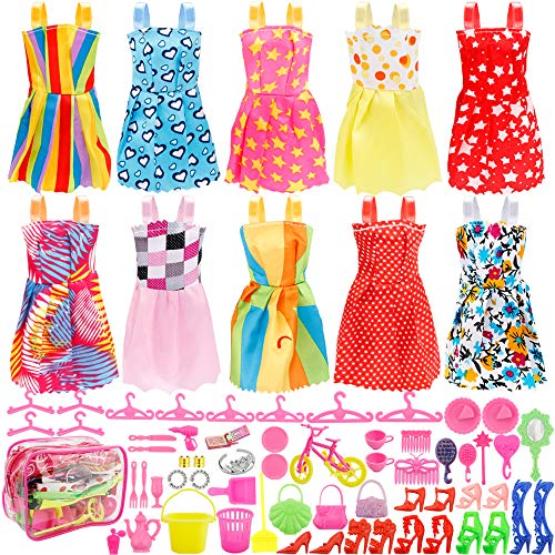 ca2f119bd9 Total 66pcs - 10 Pack Doll Clothes Party Gown Outfits+ 55pcs Dolls  Accessories Shoes Bags Necklace