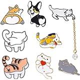 zfdg Broche Dibujos Animados Gato, 8 Piezas Broche con Insignia de Gato, Lindo Broche Pins de Solapa, Insignia Pin Gato, Pin
