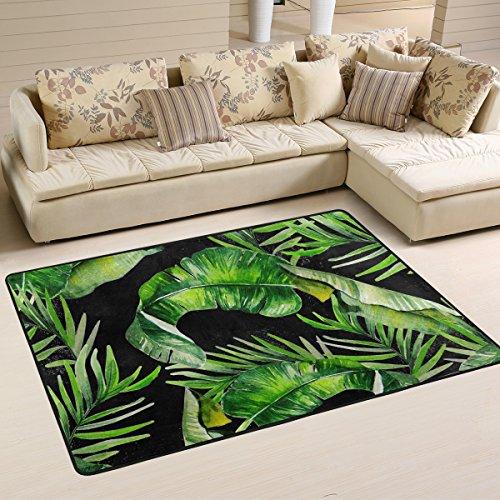 Yibaihe leicht Bedruckt Bereich Teppich Teppich Fußmatte grün Blätter Muster für Wohnzimmer Schlafzimmer 3'x 2', 100% Polyester, Multi, 183 x 122 cm(6'x 4') -