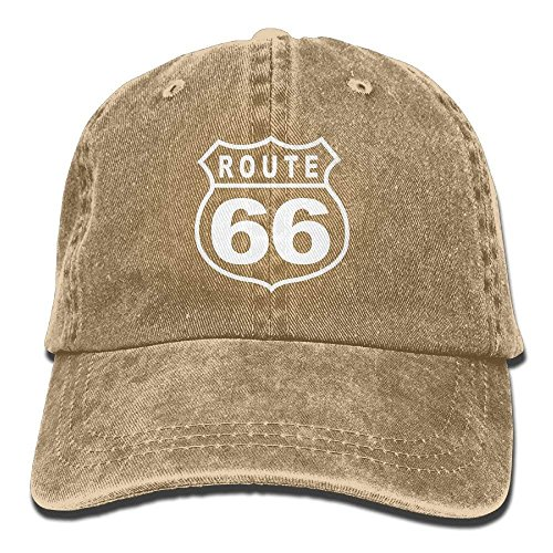 Route 66 Vacation Highway Road Sign Washed Retro Adjustable Denim Hats Trucker Hats for Women and Men