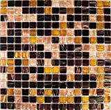 10cm x 10cm Muster Glas Mosaik Fliesen in Braun, Beige und Gelb mit Streifen (MT0062 Muster) Golden Star Tigers Eye
