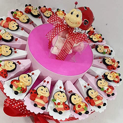 Torta bomboniere comunione coccinella con all'interno 5 confetti + oggetti + centrale (torta 20 fette coccinella rossa magnete)