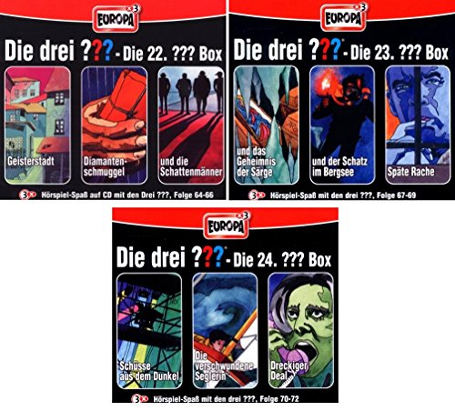 Die Drei ??? (Fragezeichen) - Folgen 64-72 (3 CD Box 22+23+24) im Set - Deutsche Originalware [9 CDs] -