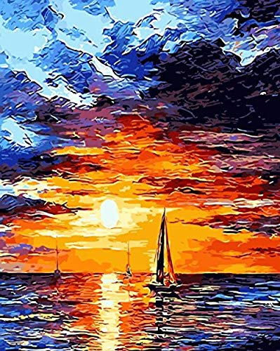 HD Paint Number Kits Adults PBN Kit Paintworks Digital DIY Oil Painting Canvas Kits Children Kids Beginner White Christmas Decorations Gifts - Sunrise Sea (N1 Framed)@N1_No_Frame ()