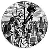 Monocrome, Gigantische Freiheitsstatue in New York, Wanduhr Durchmesser 48cm mit schwarzen spitzen Zeigern und Ziffernblatt, Dekoartikel, Designuhr, Aluverbund sehr schön für Wohnzimmer, Kinderzimmer, Arbeitszimmer
