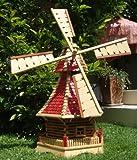 XL Windmühle,Windmühlen, mit Holzschindel - Dach imprägniert + kugelgelagert 1 m groß rot lasiert hell weinrot + natur mit / ohne Solarbeleuchtung HOLZSCHINDEL aus Massivholz