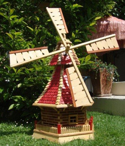 XL Windmühle, windmühlen garten, mit Holzschindeldach,OHNE PREMIUM-2X-SOLARBELEUCHTUNG-Zubehör,kugelgelagert WMS100ro-OS 1 m groß rot lasiert NEU