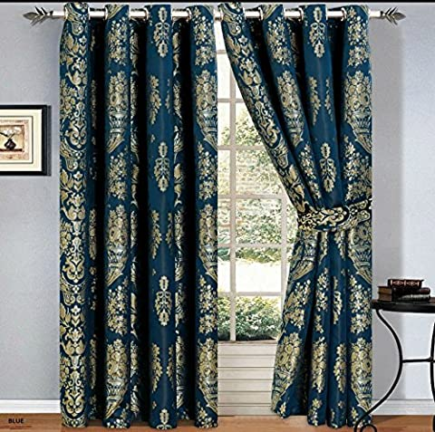 Luxury Jacquard Curtains Pair Fully Lined Ready Made Ring Top With Free Tie Backs And P&P (90 X 90, Blue)