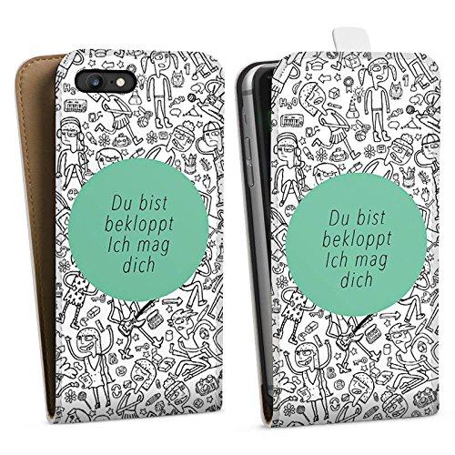Apple iPhone X Silikon Hülle Case Schutzhülle Verrückt Crazy Sprüche Downflip Tasche weiß