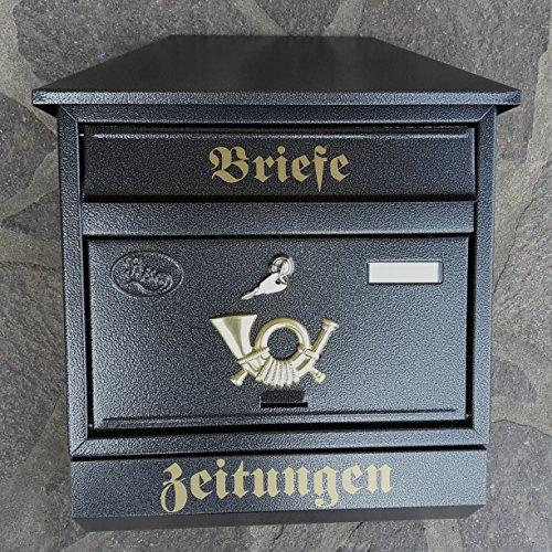 Großer Briefkasten / Postkasten XXL Anthrazit mit Zeitungsrolle Zeitungsfach Schrägdach Trapezdach - 2
