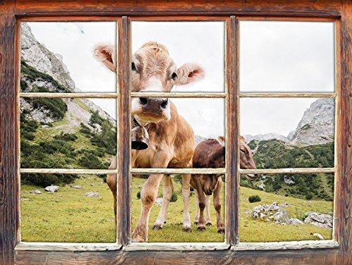 Almkuh auf der Weide Fenster im 3D-Look , Wand- oder Türaufkleber, Wandsticker, Wandtattoo, Wanddekoration