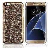 Galaxy S6 Edge Case 5,1 zoll S6 Edge Hüllen, TechCode® Crystal Strass Hülle Glitter Schutzhülle Schönheit Luxus Glänzend Funkeln Bling Handwerk Kristall Strass Diamant Überzug Plating Hard Hülle Case Tasche für Sumsung Galaxy S6 Edge 5,1 Zoll (S6 Edge, Golden)