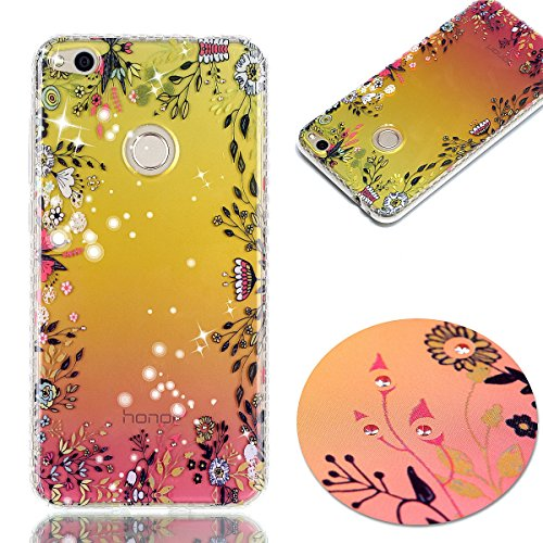 Pour Huawei P8 Lite 2017 Case Cover, Ecoway TPU Soft Silicone Golden background personalized pattern Housse en silicone Housse de protection Housse pour téléphone portable pour Huawei P8 Lite 2017 - fleurs