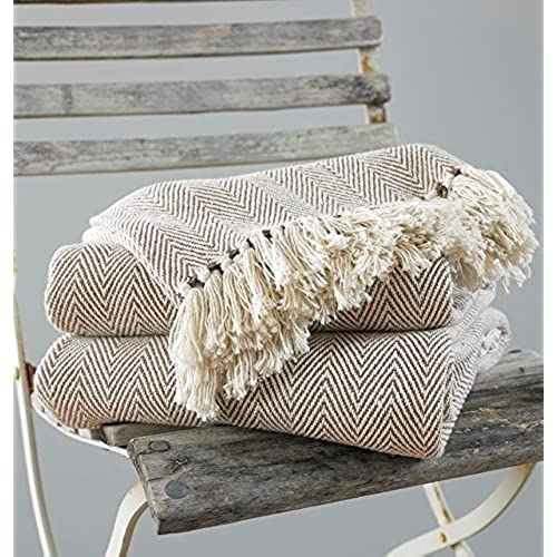 COMO Throw Blanket For Chair/Bed Or Sofa, 100 Percent Cotton, Beige, 170 X  200 Cm