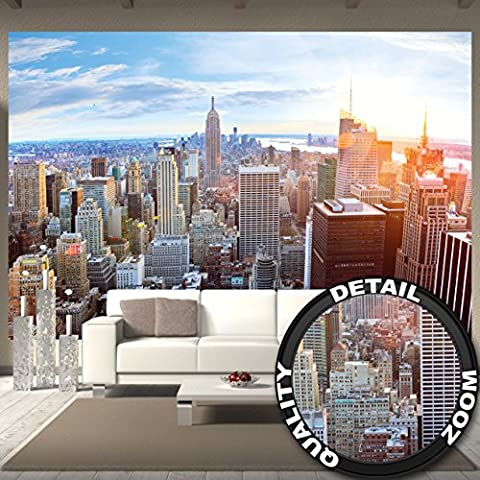 Fototapete New York Skyline Wandbild Dekoration Sonnenuntergang Manhattan Penthouse Panoramablick USA Deko Amerika Big Apple | Foto-Tapete Wandtapete Fotoposter Wanddeko by GREAT ART 336 x 238 cm