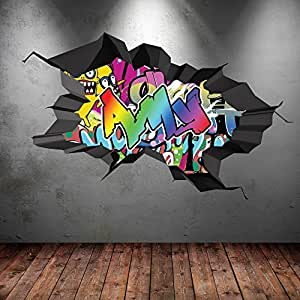 Multi full colour personalised 3d illusion graffiti name cracked wall art stickers decal Painting graffiti on bedroom walls