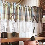 Blue Plaid Valance Lace Bowknot Tier Windows Curtains For Kitchen W*H 51 by 18-Inch