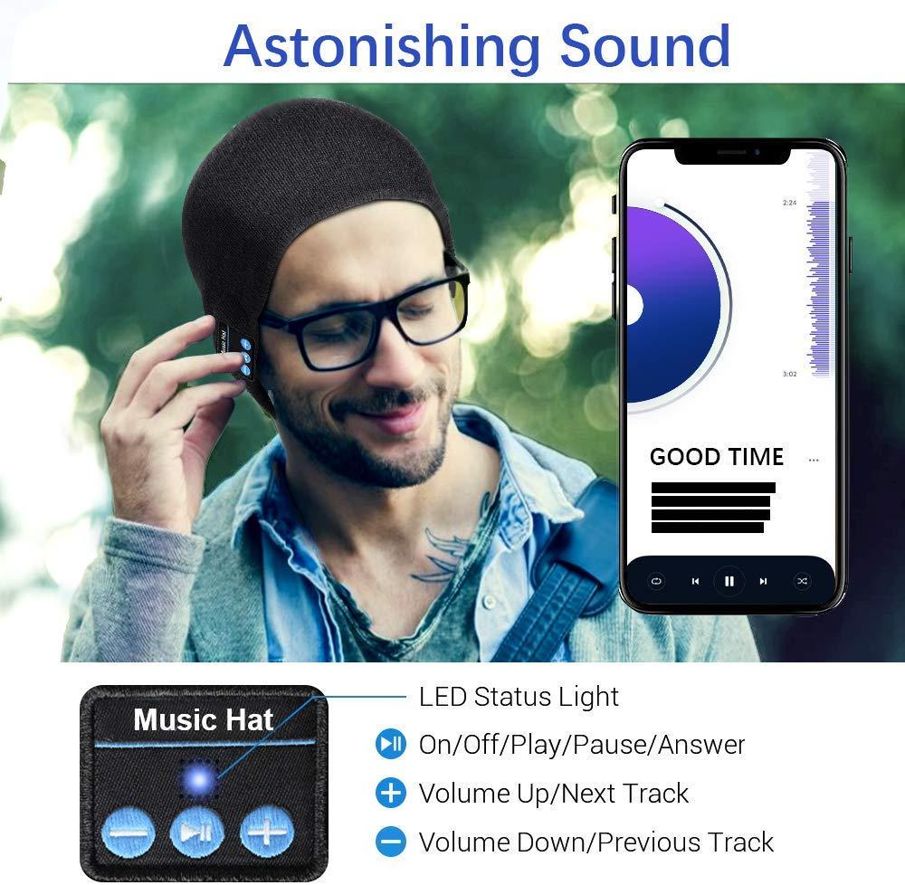 Berretto musicale Bluetooth, cappello lavorato a maglia bluetooth unisex con cuffie stereo e microfono vivavoce per… 5 spesavip