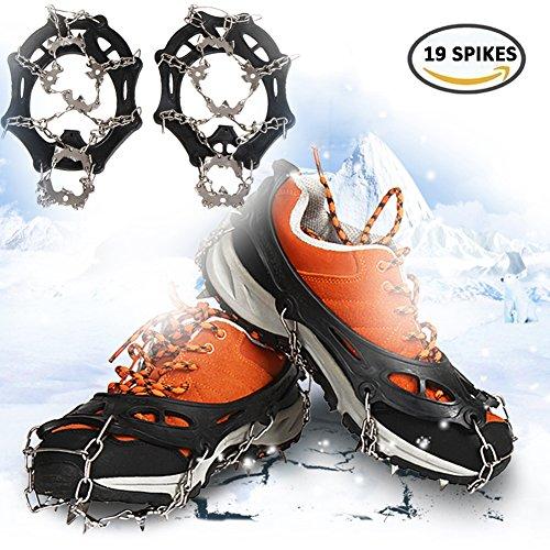 Boonor Schuhspikes Schuhkrallen mit 19 Zähnen, Silikon Schneeketten Steigeisen mit Edelstahlspikes für High Altitude Wandern Eis Schnee (L)